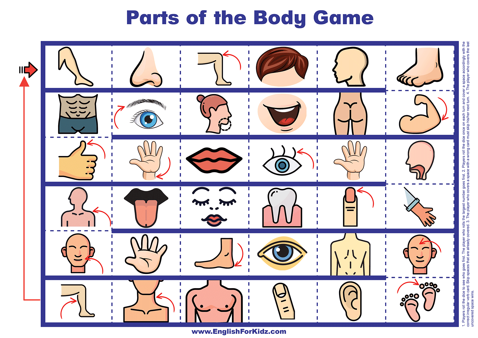 Parts of the Body - Printable Board Game