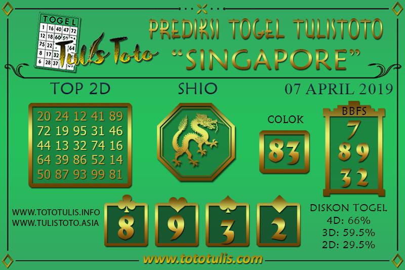 Prediksi Togel SINGAPORE TULISTOTO 07 APRIL 2019