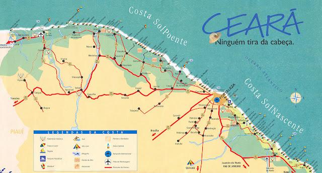 Mapa do litoral do Ceará