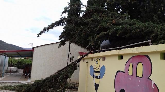 """Ζημιές από τον κυκλώνα """"Ζορμπά"""" στο Δημοτικό Σχολείο και Νηπιαγωγείο Σκαφιδακίου"""