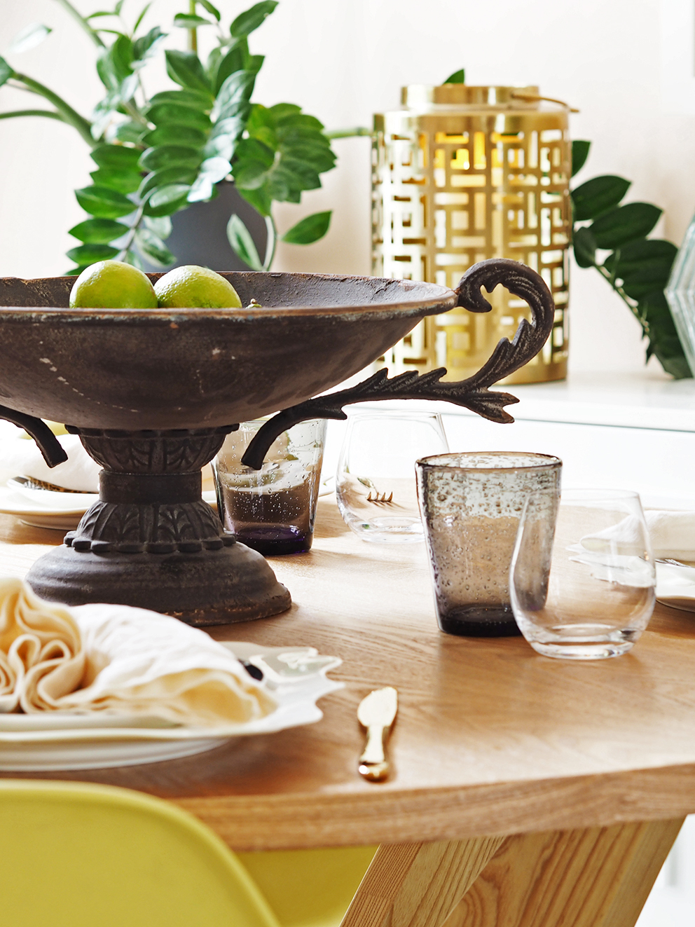 My Summer Dining Room - French For Pineapple Blog - ornate footed antiqued bowl on round wooden dining table