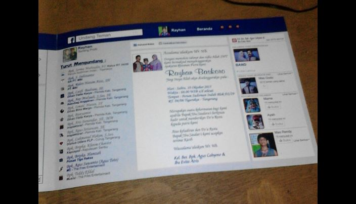 Unik Dan Kreatif Undangan Sunatan Dengan Tema Facebook