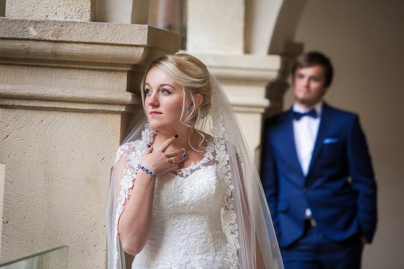 kobaltowo,koronowa biżuteria ślubna