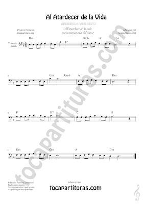 Trombón, Tuba Elicón y Bombardino Partitura de Al Atardecer de la Vida Sheet Music for Trombone, Tube, Euphonium Music Scores (tuba en 8ª baja)