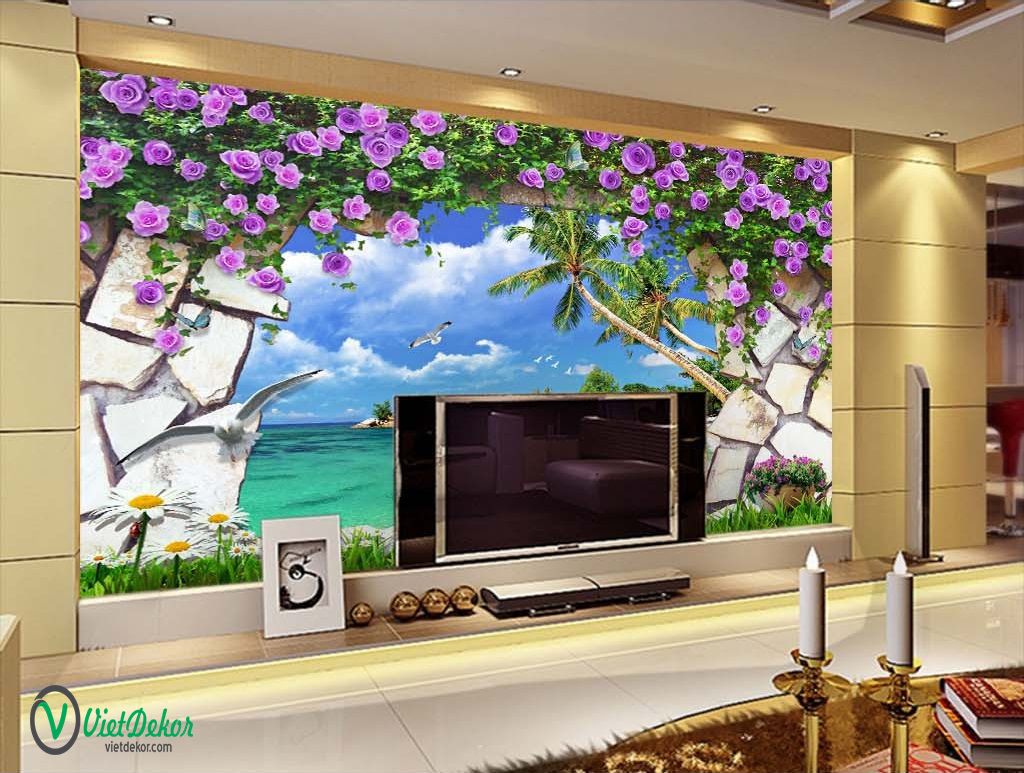 Tranh dán tường 3d phong cảnh biển và hoa hồng tím