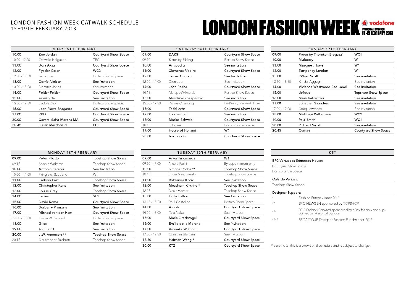 LONDON FASHION WEEK: Show Schedule Autumn/Winter 2013