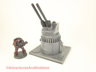 Miniature wargame remote air defense gun turret - side view A.