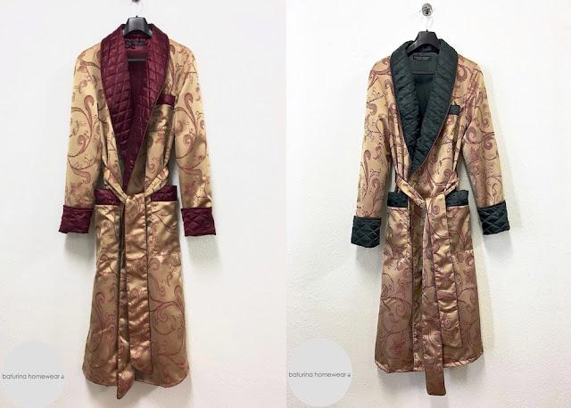 Gentleman's luxury silk dressing gown men's quilted robe