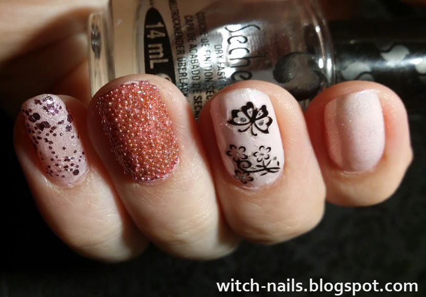 each nail different with butterfly stickers