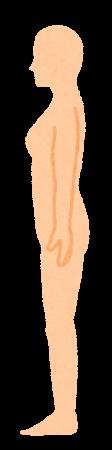 無地の人体のイラスト(女性・側面)