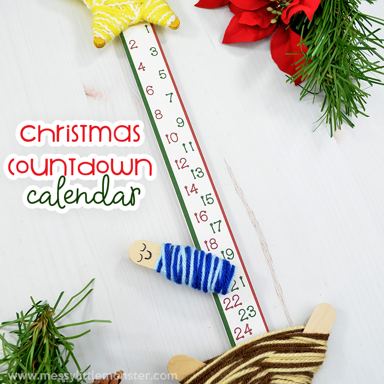 graphic relating to Printable Christmas Countdown called Generate Your Individual Xmas Countdown Calendar - Messy Minimal