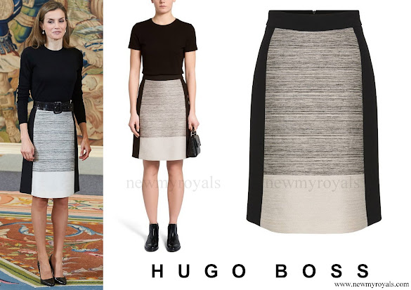 Queen Letizia wore HUGO BOSS Viphima Flared skirt