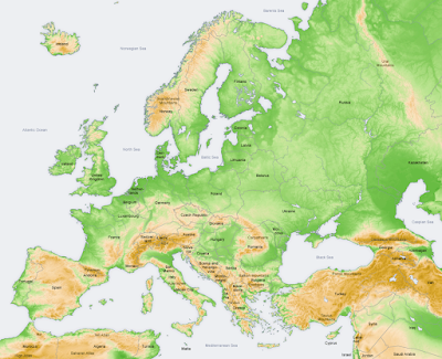 Peta relief Eropa