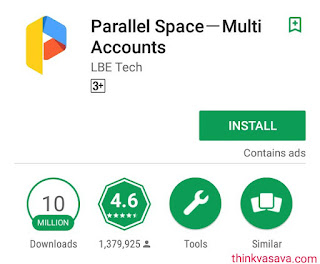 Parallel space app for 2 whatsapp account in phone