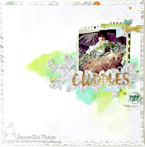 Cuddles Kitty and Leaves scrapbook page by Samantha Mann | Beautiful Leaves Stamp Set & Die by Newton's Nook Designs #newtonsnook