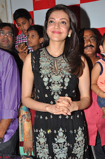 Kajal Aggarwal in lovely Black Sleeveless Anarlaki Dress in Hyderabad at Launch of Bahar Cafe at Madinaguda 004.JPG