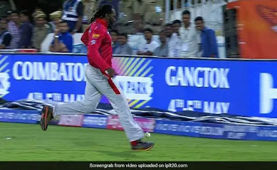 Chris Gayle Kicks Ball to The Boundary