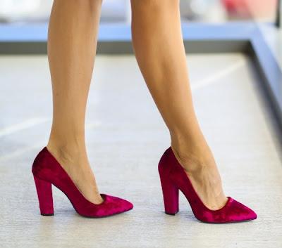 pantofi din piele intoarsa de ocazii cu toc gros