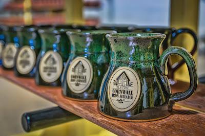 Green-stoneware-mugs-from-Cornwall-Iron-Furnace-store