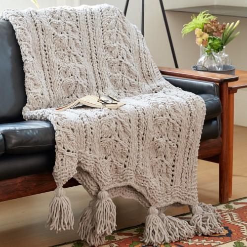 Rose Leaf Knit Blanket - Free Pattern