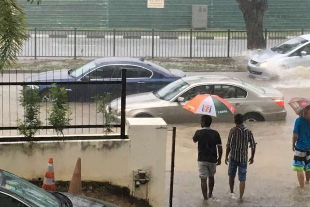 The Straits Times reported that two cars were stranded outside Church of St Vincent de Paul along Yio Chu Kang Road.