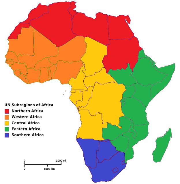 Carte de l'Afrique par région