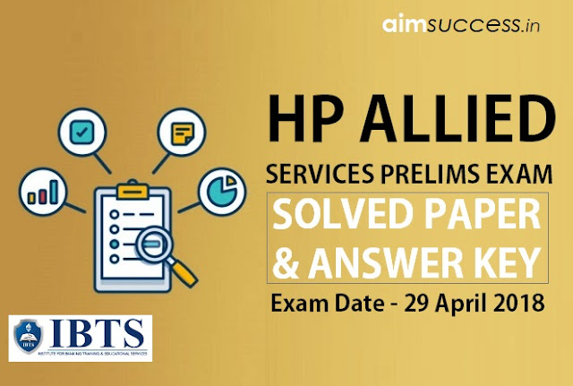 HP Allied Services Prelims Answer Key/ Solved paper 29 April 2018