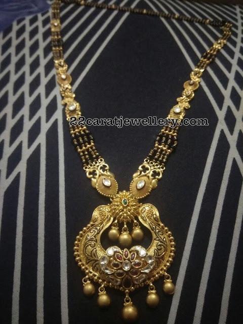 Black Beads Long Set with Chandbali Pendant