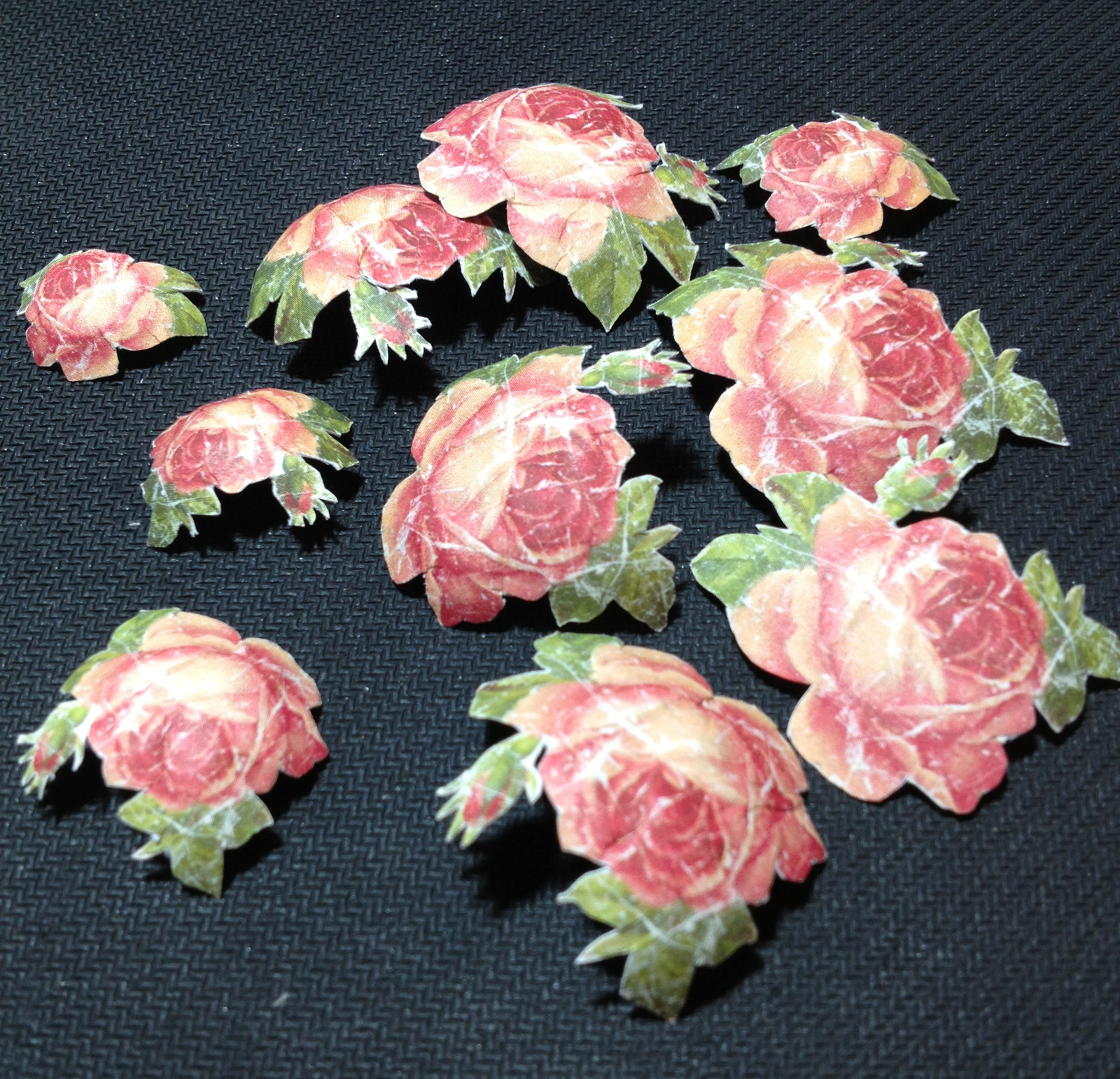 Paper crafting; fussy cut roses. Paper by 75 Studio