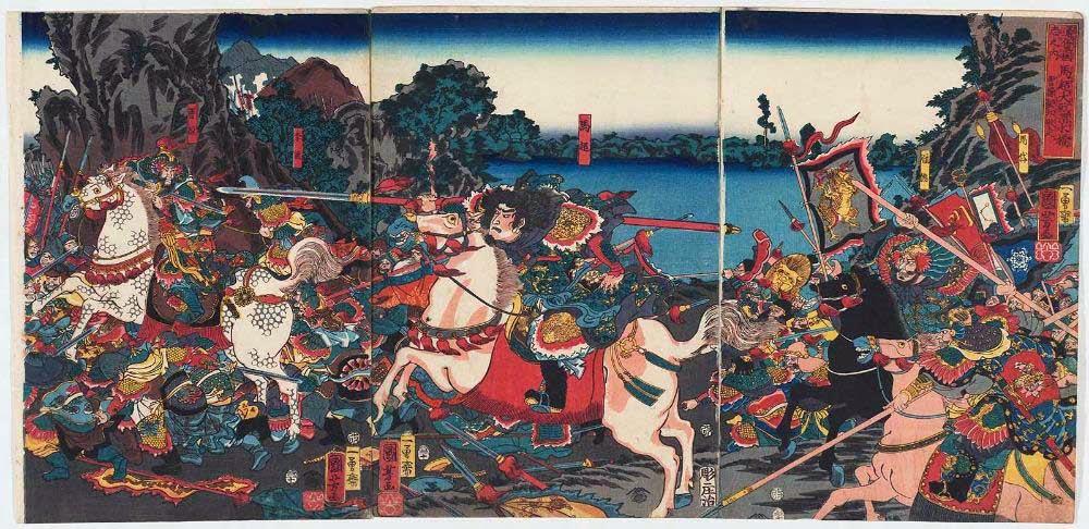 ภาพเขียนโบราณของญี่ปุ่น - ม้าเฉียวไล่ล่าโจโฉ