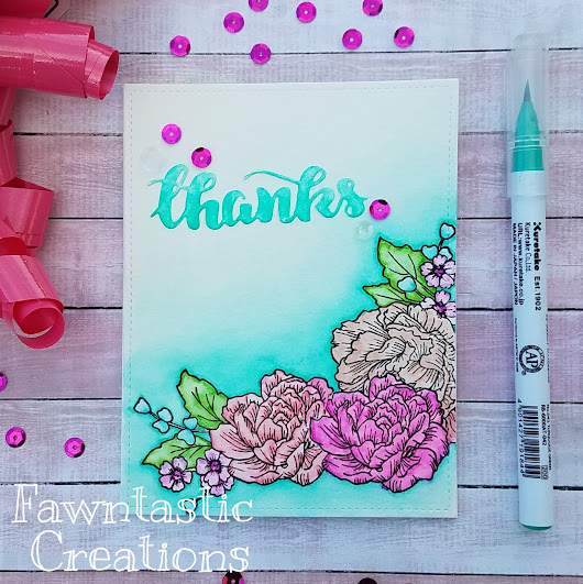 Thanks Card - Zig Clean Color Real Brush Markers - Halo Watercolor Background