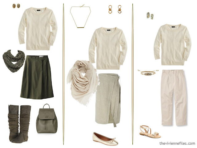 three new capsule wardrobe outfits including ivory sweater