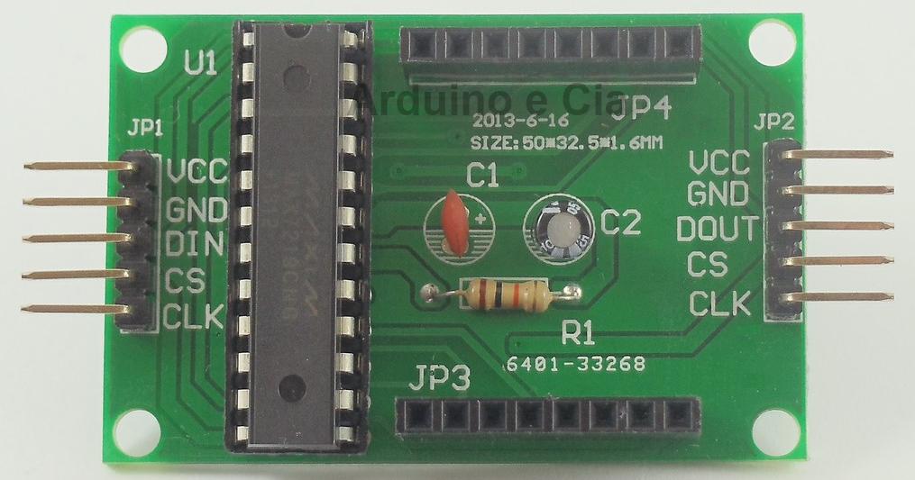 Detalhe conectores do Módulo Max7219