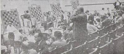 Sala de juego del II Campeonato de España de Ajedrez por Equipos, Bilbao 1957
