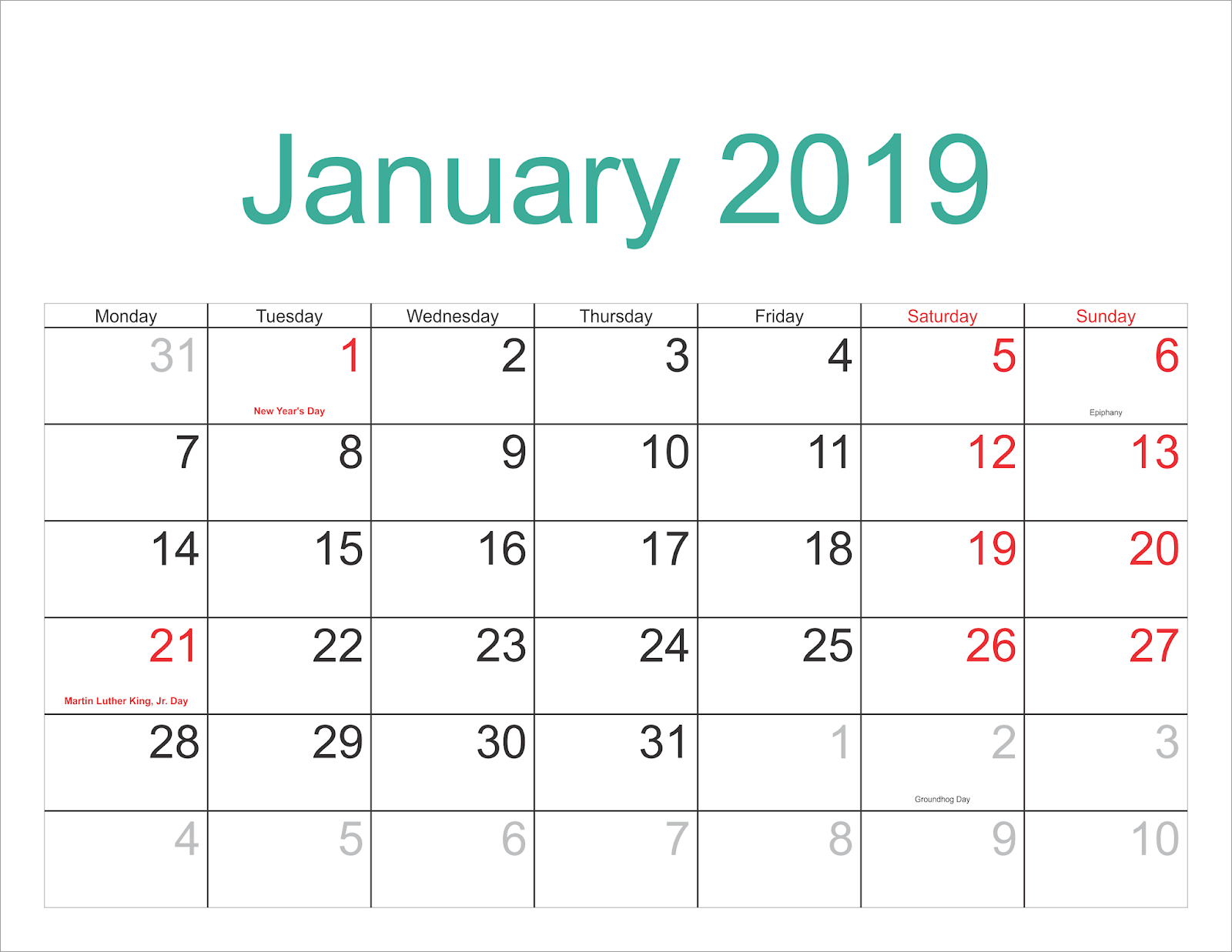 Free Download January 2019 Landscape Portrait Calendar Template