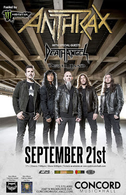 Anthrax performing in Chicago with Death Angel at Concord Music Hall on September 21, 2016