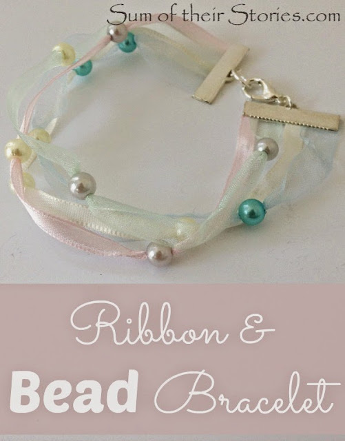 Make a delicate ribbon and bead bracelet