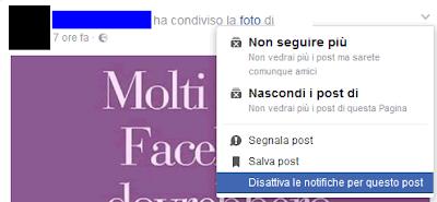 Come disattivare le notifiche dei post su facebook