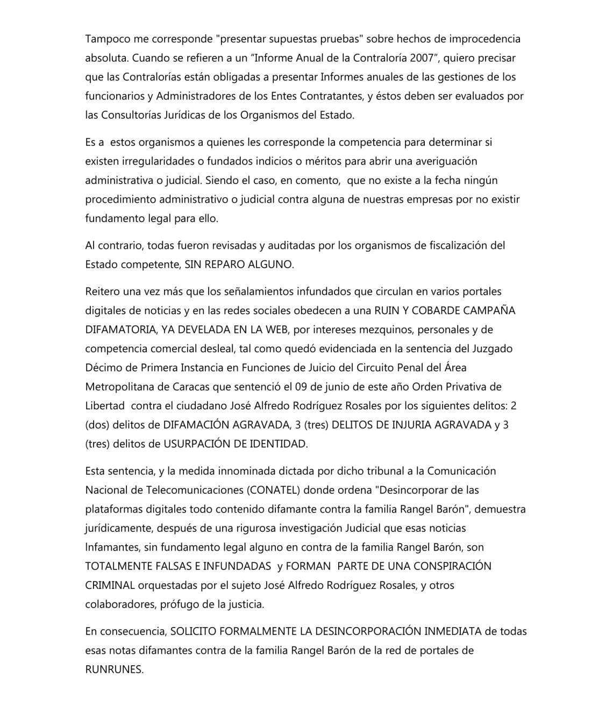 comunicado público para RunRunes (Venezuela) Daniel Rangel Baron
