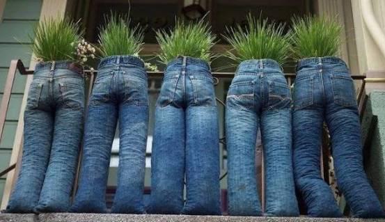 Pot unik tanaman dari Celana Jeans Bekas