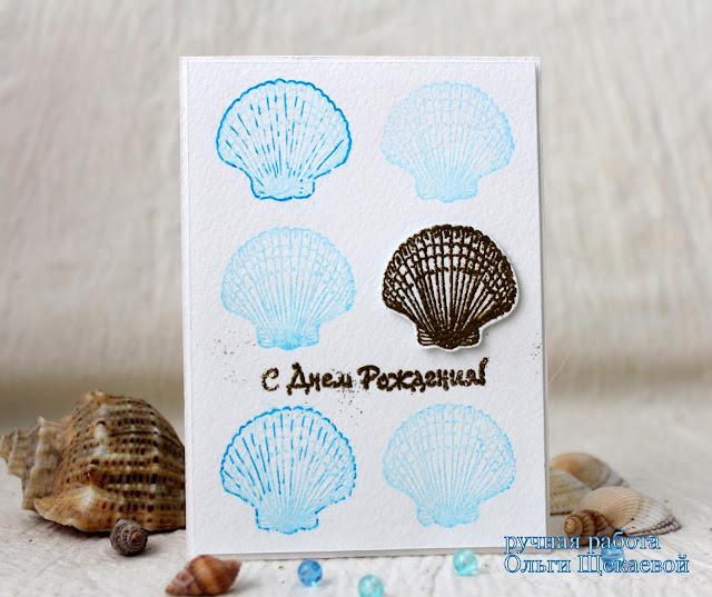 открытка с ракушками, морская
