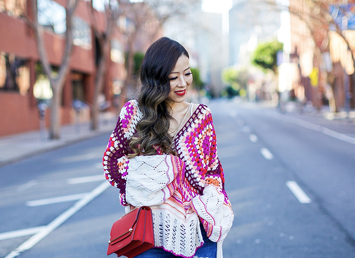 free people call me crochet sweater, cami, baublebar earrings, strathberry east west bag, blanknyc distressed jeans, aquazzura lace up heels, spring style, san francisco street style, san francisco fashion blog