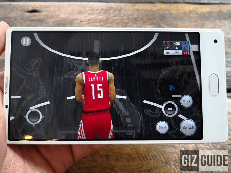 Playing NBA 2K18 on medium settings is smooth with this phone