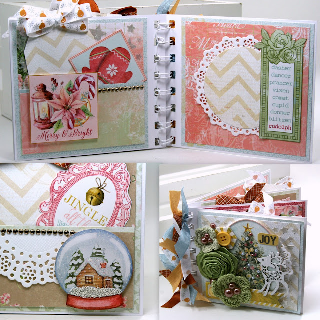 Joy Christmas Mini Album by ginny Nemchak using BoBunny Carousel Christmas and Pentart