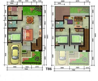 Denah Rumah Minimalis Tipe 36 2 lantai