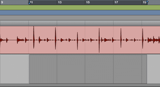 A Selection Moved Vertically in Pro Tools Timeline