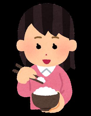 箸でご飯を食べる人のイラスト(女性)