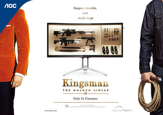 AOC is the Official Monitor Partner of 20th Century Fox Film's Kingsman: The Golden Circle