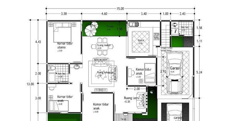 denah rumah ukuran 13x15 tampak moderen