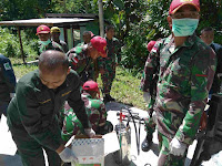 Satgas Yonif Para Raider 501 Kostrad Kembali Gelar Fogging Massal di Perbatasan